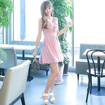 洋裝-無袖夏季V領荷葉邊雪紡女連身裙73nj48【巴黎精品】