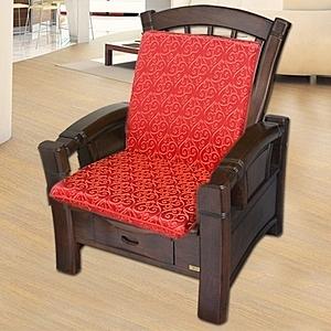 【凱蕾絲帝】木椅通-高支撐加厚連體L型坐墊(如意紅4入)