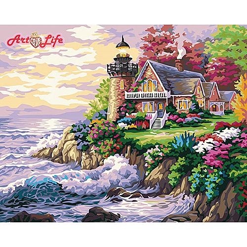 【66174】\t海邊別墅_DIY 數字 油畫 彩繪