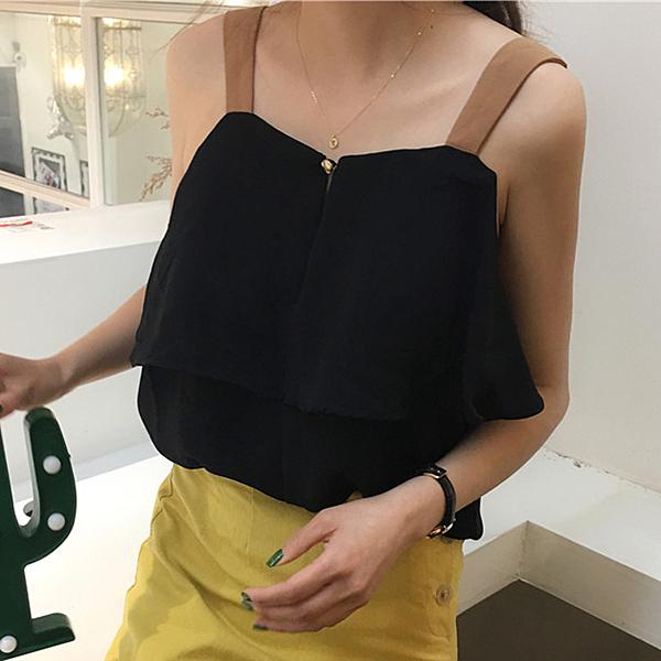 [超豐國際]夏季時尚短款百搭層層雪紡衫打底衫女裝學生吊帶1入