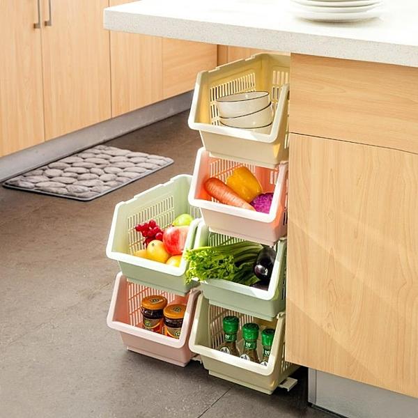 [超豐國際]可疊加收納籃浴筐置物籃 廚房蔬菜水果塑料籃子桌面收納