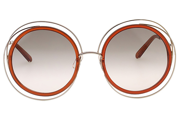 CHLOE 太陽眼鏡 氣質大圓框 金色框+透明橘茶 CE120S-735