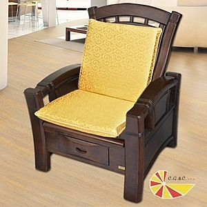 【凱蕾絲帝】木椅通-高支撐加厚連體L型坐墊(富貴金1入)