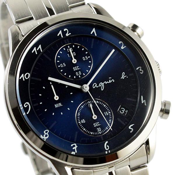 【萬年鐘錶】agnes b. 法式時尚風 計時腕錶 鋼帶 銀殼 深藍錶面  白字 40mm VD57-00A0B(BM3006J1)