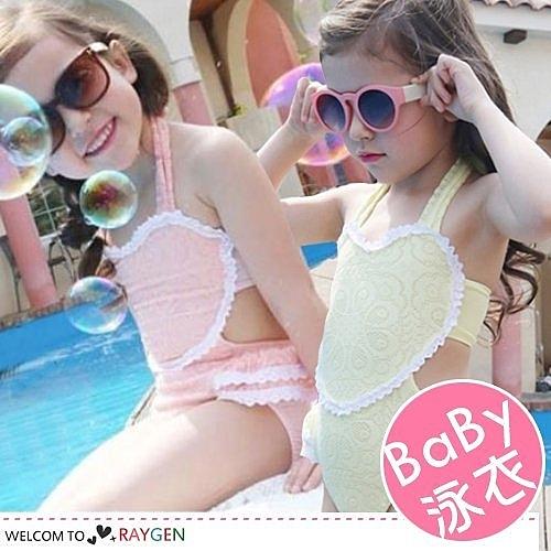 女童蕾絲花邊造型泳衣 泳裝 泳帽 二色