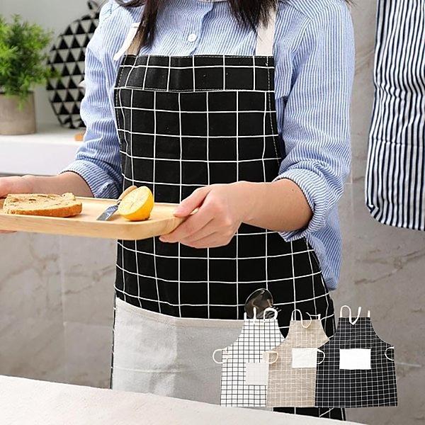 現貨-日系棉質素雅方格口袋圍裙 煮菜烘焙 防污防髒圍兜 隨機出貨【B098】『蕾漫家』