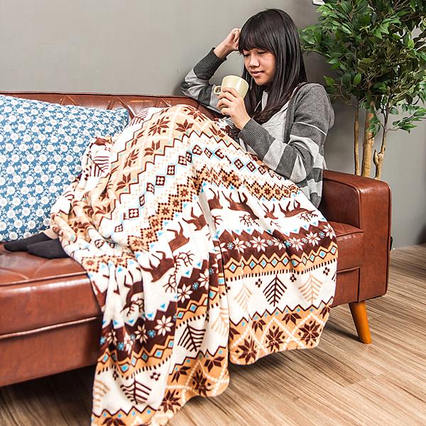 保暖毯 毛毯 毯子 萬用毯 法蘭絨 懶人毯 冷氣毯200X150cm 北歐麋鹿【D010】