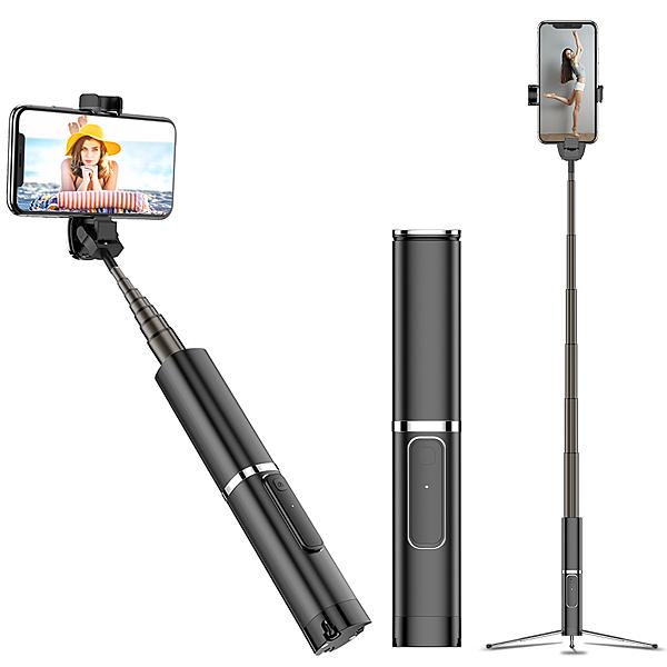 時尚高質感鋁合金外殼!! 一體式三腳架 幻影藍牙自拍棒 APPLE iPhone Xs XR Xs Max 藍芽伸縮棒 NCC認證