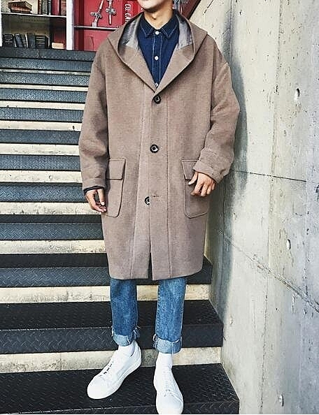 FINDSENSE Z1 韓國 時尚 潮 男 複古 連帽大口袋 加厚 毛呢 中長