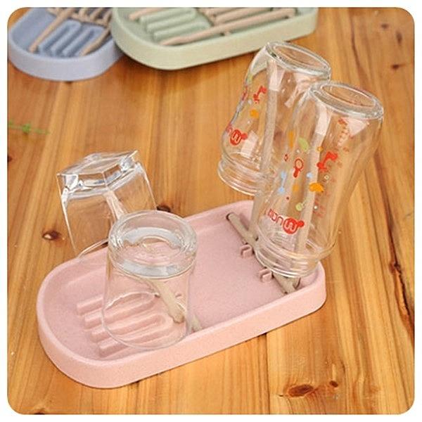 【奶瓶瀝水架】韓系北歐環保無毒小麥秸稈 瀝水杯架 置杯架 奶嘴 杯子