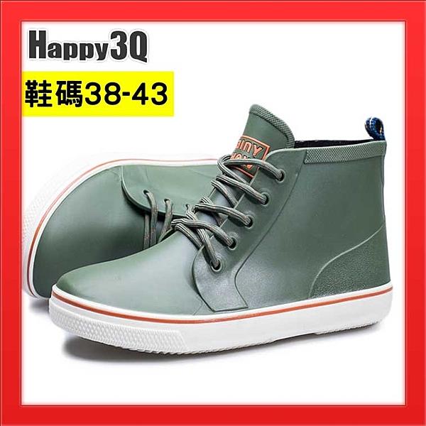 短筒雨鞋中筒雨靴男生雨鞋42時尚雨靴41防水短靴防水帆布鞋-黑/綠38-43【AAA2189】預購