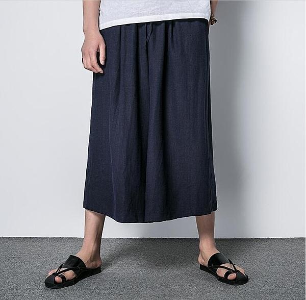FINDSENSE MD 日系 潮 男 時尚 亞麻 寬鬆舒適 立體剪裁 透氣 純
