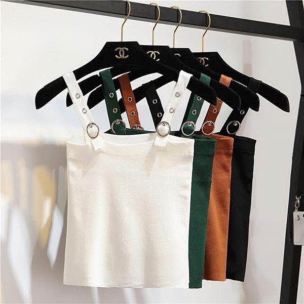 [超豐國際]春季時尚百搭純色顯瘦短款露臍針織小背心打底衫吊帶1入