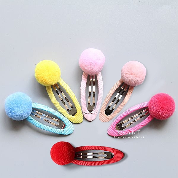 糖果色可愛毛球BB髮夾 兒童髮飾