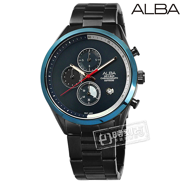 ALBA / VD57-X135SD.AM3597X1 / 藍寶石水晶玻璃 三眼計時 日期 不鏽鋼手錶 深藍x鍍灰 43mm