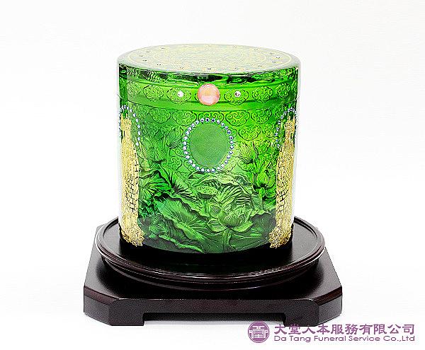 【大堂人本】翠綠琉璃 心經鑲鑽 骨灰罐