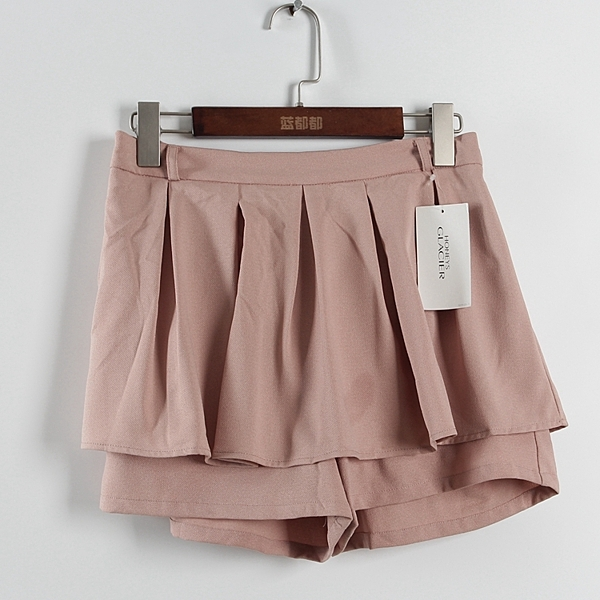 [超豐國際]好春秋裝女裝淺粉色不規則百搭裙褲 散85799(1入)