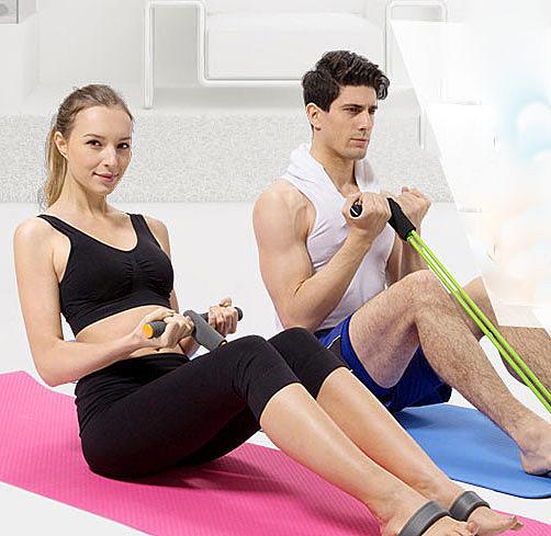 【Love Shop】仰臥起坐器材健身家用運動拉力器 減肥/腹肌訓練器 瑜珈必備彈力繩/健美繩/彈力帶