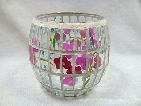 純手工藝品小花玻璃貼片燭台