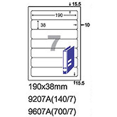 阿波羅9207A影印自黏標籤貼紙7格切圓角190x38mm