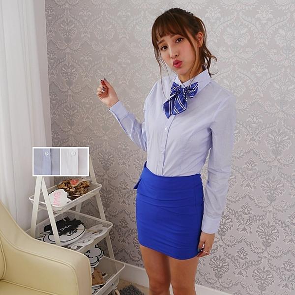 韓版女ol面試制服 純素棉質細藍條長袖襯衫【Sebiro西米羅男女套裝制服】018140806