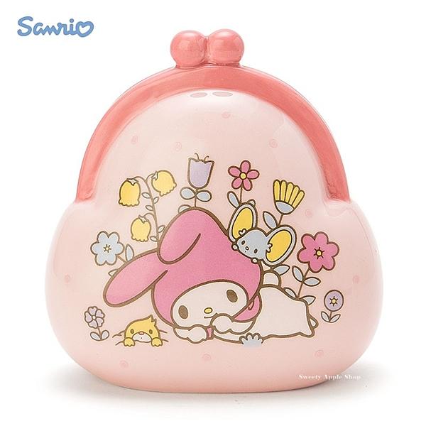 日本限定 三麗鷗 美樂蒂 錢包造型 陶瓷 貯金箱 存錢筒