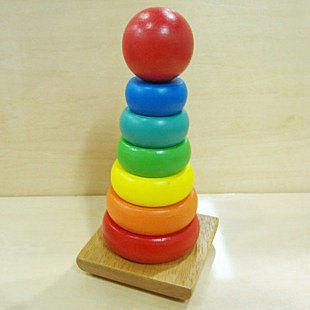 早教玩具 丹妮奇特木制玩具 迷你小彩虹塔層層疊套塔