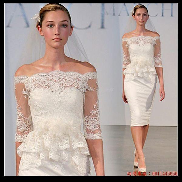(45 Design) 訂做款式7天到貨  白色中長袖新娘結婚訂婚敬酒婚紗晚禮服短款蕾絲小禮服