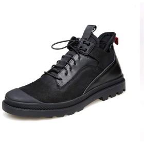 [Jusheng-shoes] メンズシューズ Fashon男性ハイキングスニーカー弾性ロック靴ひものためのアンクルブーツ本革パッチワーク衝突回避つま先(フリース内のオプション) カジュアルシューズ (Color : Black-Fleece Inside, サイズ : 24 CM)