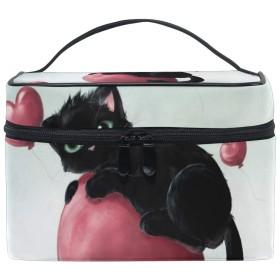 メイクポーチ コスメポーチ 化粧パック ハートバルーン 猫メイクボックス メイクバッグ コスメボックス 化粧品収納ボックス 化粧雑貨 化粧箱 化粧品 雑貨 収納 大容量