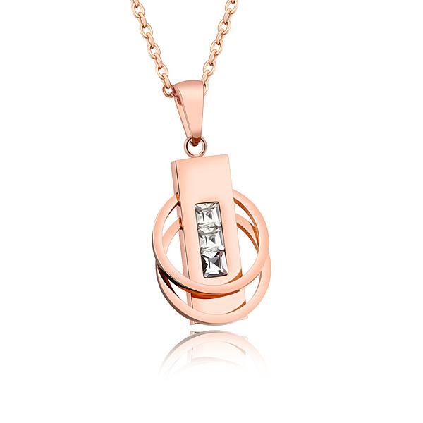 【5折超值價】 情人節禮物時尚精美精緻個性雙圓環鑲鑽造型女款鈦鋼項鍊