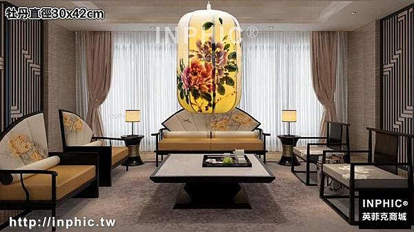 INPHIC-中式古典手繪國畫布藝吊燈仿古茶樓酒店客廳臥室書房餐廳仿羊皮燈-牡丹直徑30x42cm_S3081C