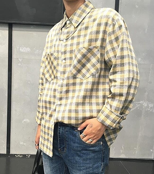 FINDSENSE Z1 韓國 時尚 潮 男 複古 翻領 格紋 青年襯衫 寬鬆