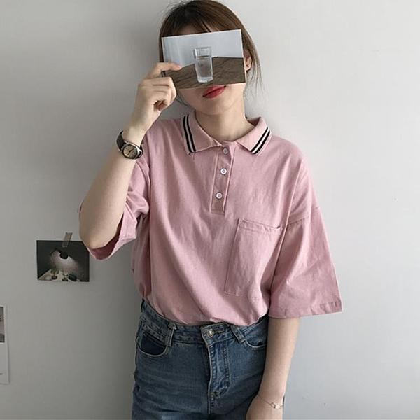 [超豐國際]中長款寬松顯瘦POLO領T恤夏季港味時尚學院風口1入