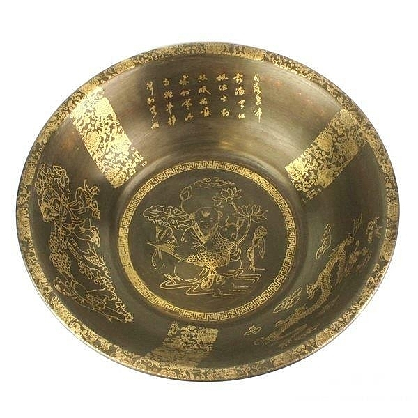 純銅聚寶盆擺件 仿古風水擺設