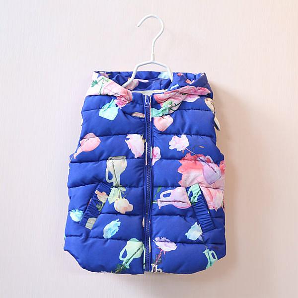 女Baby女童鋪棉背心亮藍色玫瑰印花鋪棉連帽背心現貨  出口日本品質
