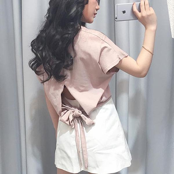 [超豐國際]夏季潮原宿風V領剪裁純色后背開叉系帶短袖T恤女學1入