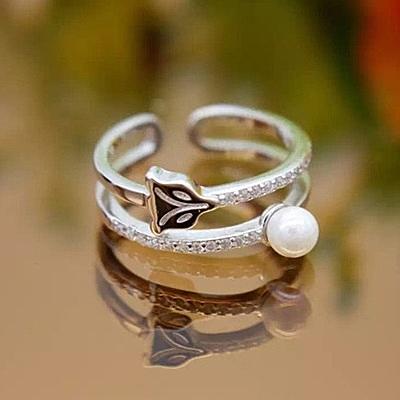戒指 925純銀鑲鑽-鑲鑽珍珠生日情人節禮物女開口戒73dt778[時尚巴黎]