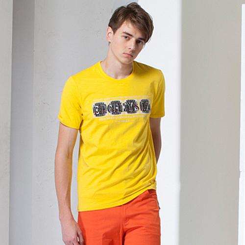 *86精品*黃色服飾令人感到輕鬆休閒時尚 亮眼配色低調時尚圓領T恤款【16122-20】