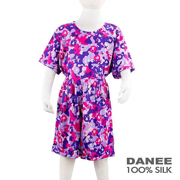 【岱妮蠶絲】兒童粉紅動物園蠶絲休閒套裝(100-120cm)
