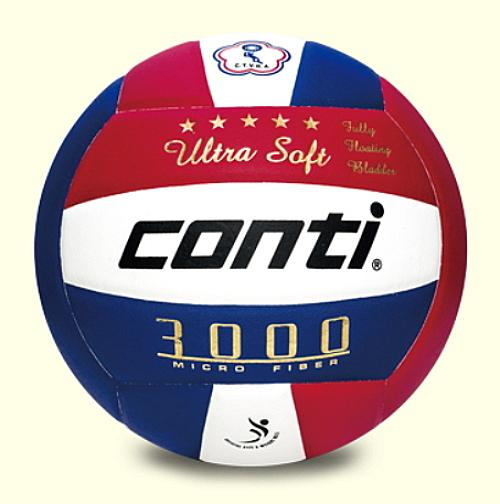 [陽光樂活=] CONTI 頂級超細纖維貼布排球(5號球) 紅/白/藍 比賽用球 V3000-5 預購