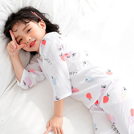 兒童睡衣 兒童睡衣薄款可愛棉綢男孩春夏季空調服女童寶寶九分袖7-9周歲【【八折搶購】】