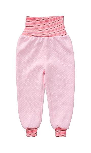 童裝 現貨 保暖空氣棉彩條腰護肚長褲-06款粉底白點【64995】