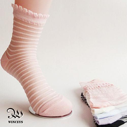 日韓微透明隱形短襪(2入)-橫條紋-WINCEYS