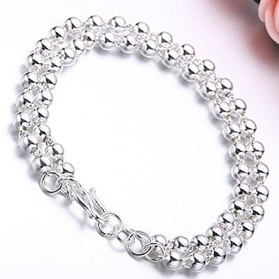 925純銀手鍊 鍍白金-亮面圓珠雙層生日情人節禮物女飾品73nc8【時尚巴黎】