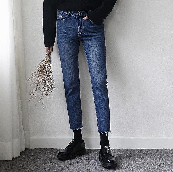FINDSENSE Z1 韓國 時尚 潮 男 修身 緊身 簡約純色 藍色 毛邊