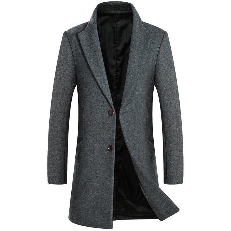 毛呢大衣中長版風衣-翻領簡約純色修身男外套3色73wk5【獨家進口】【米蘭精品】