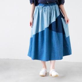 or slow オアスロウ ギャザーロングデニム切り返しスカート GATHER LONG SKIRT