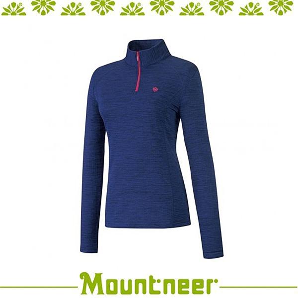 【Mountneer 山林 女 雲彩針織保暖上衣《寶藍》】22P16/高領/長袖/旅遊