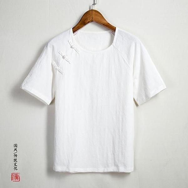 [超豐國際]夏天中國風斜襟盤扣棉麻T恤男短袖漢服改良唐裝汗衫